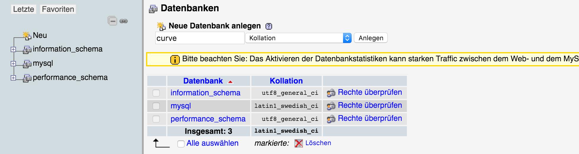 PHP Neue Datenbank